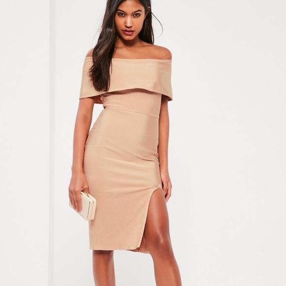 d63506f49fa5f Missguided Nude Bandage Bardot Midi Dress. M 5b8718bdd8a2c7ac1eb5d241